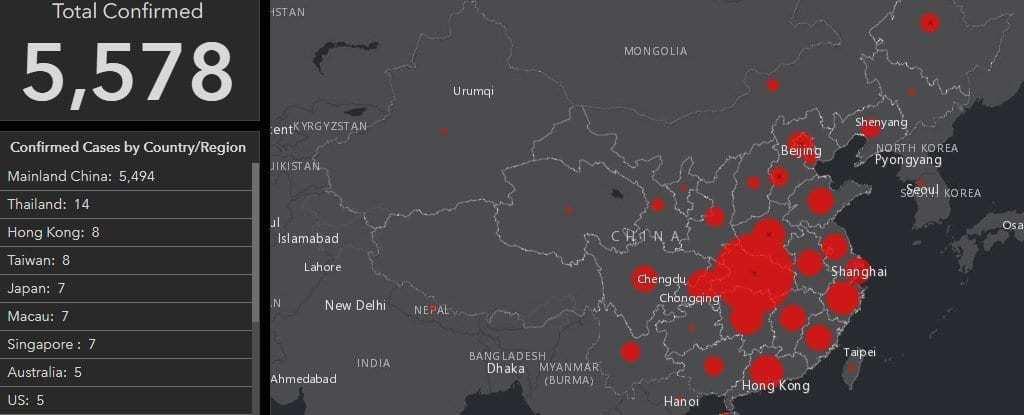 wuhan coronavirus map